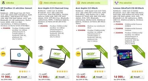 Notebooky pro práci i na hry levně