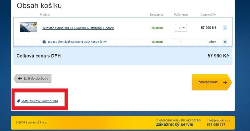 Použití slevového kódu na Smart TV v eshopu Euronics.cz