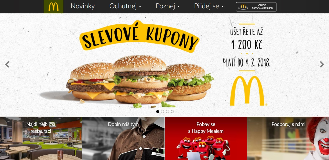 screenshot www.mcdonalds.cz