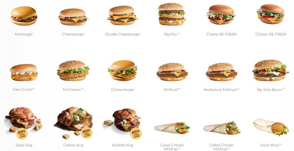 Nabídka burgerů