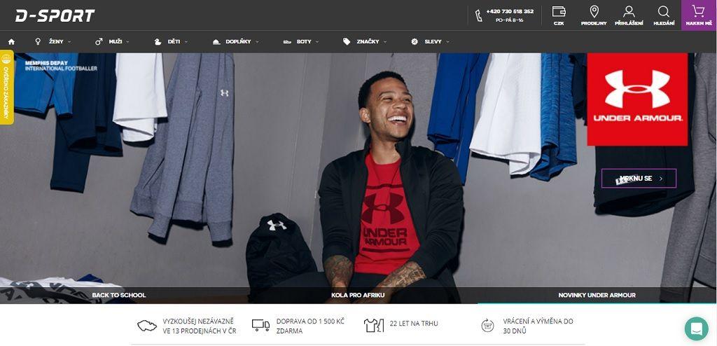 Hlavní stránka e-shopu D Sport