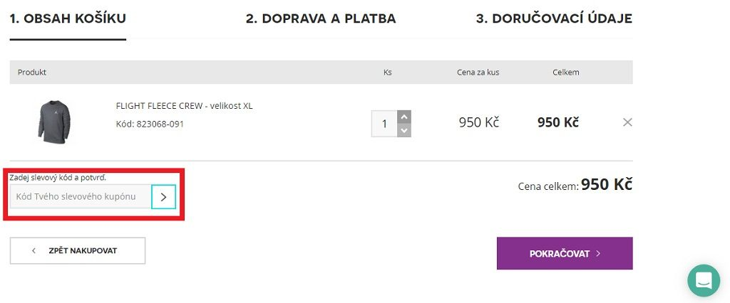 Využití slevového kuponu na D-sport.cz